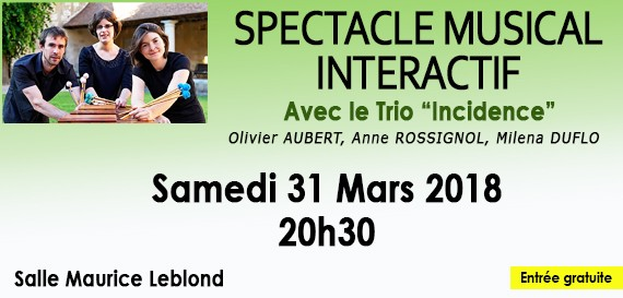 Spectacle musical interactif Trio de percussions «Incidence»
