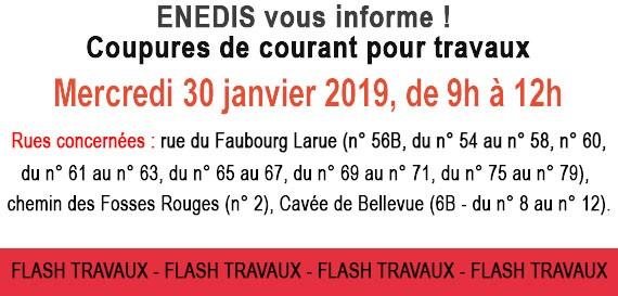 Travaux ENEDIS : Coupures de courant mercredi 30 janvier 2019