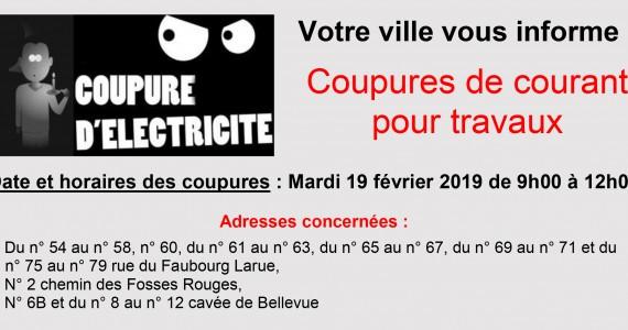 Coupures électriques pour travaux le mardi 19 février 2019