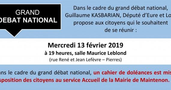 Grand Débat National de Guillaume KASBARIAN le 13 février 2019, à 19 heures, salle Maurice Leblond