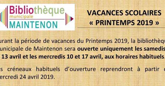 Horaires de la Bibliothèque Municipale / Vacances de Printemps 2019