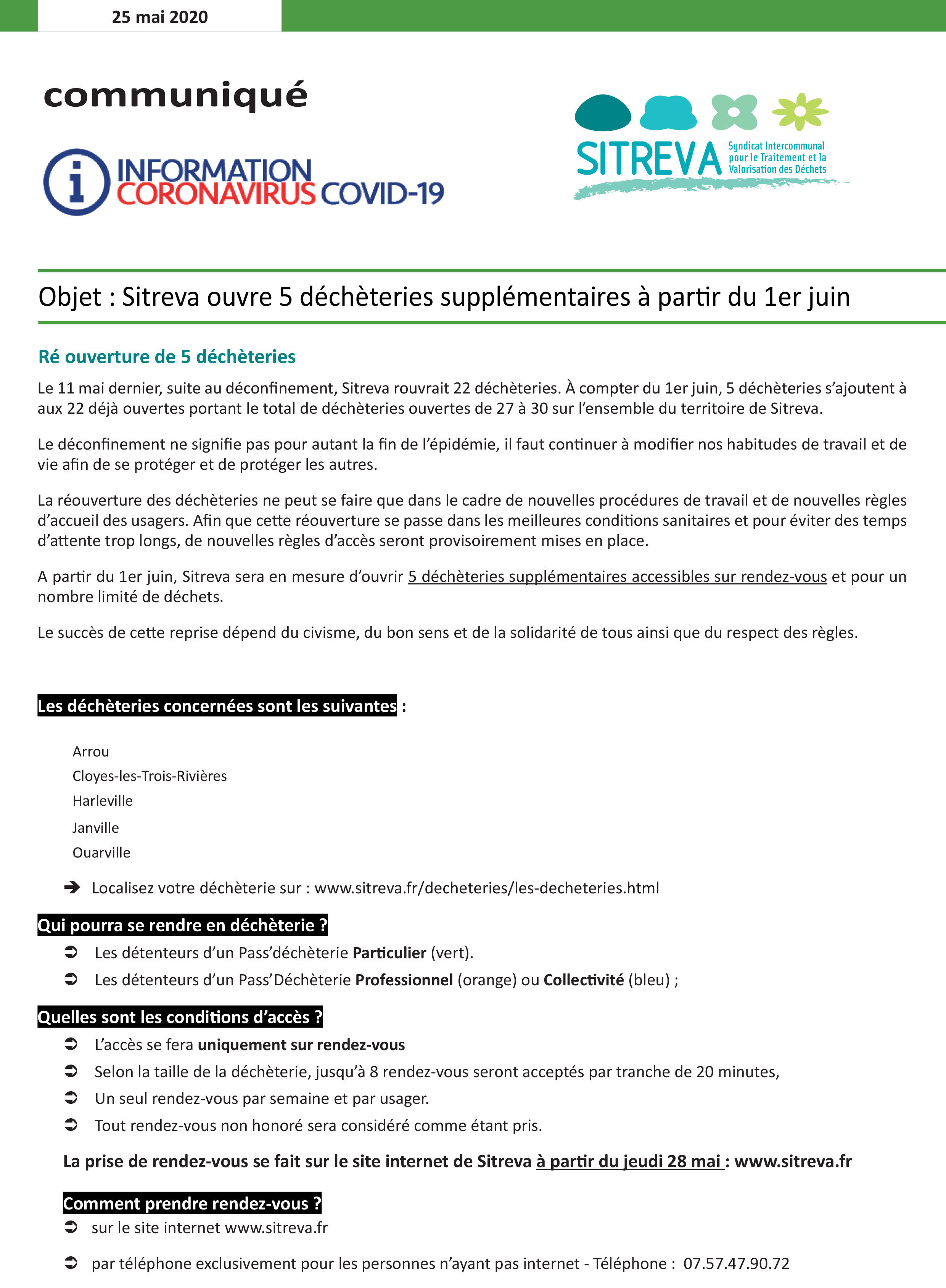 communique_reouverture-5-decheteries-supplementaires-1