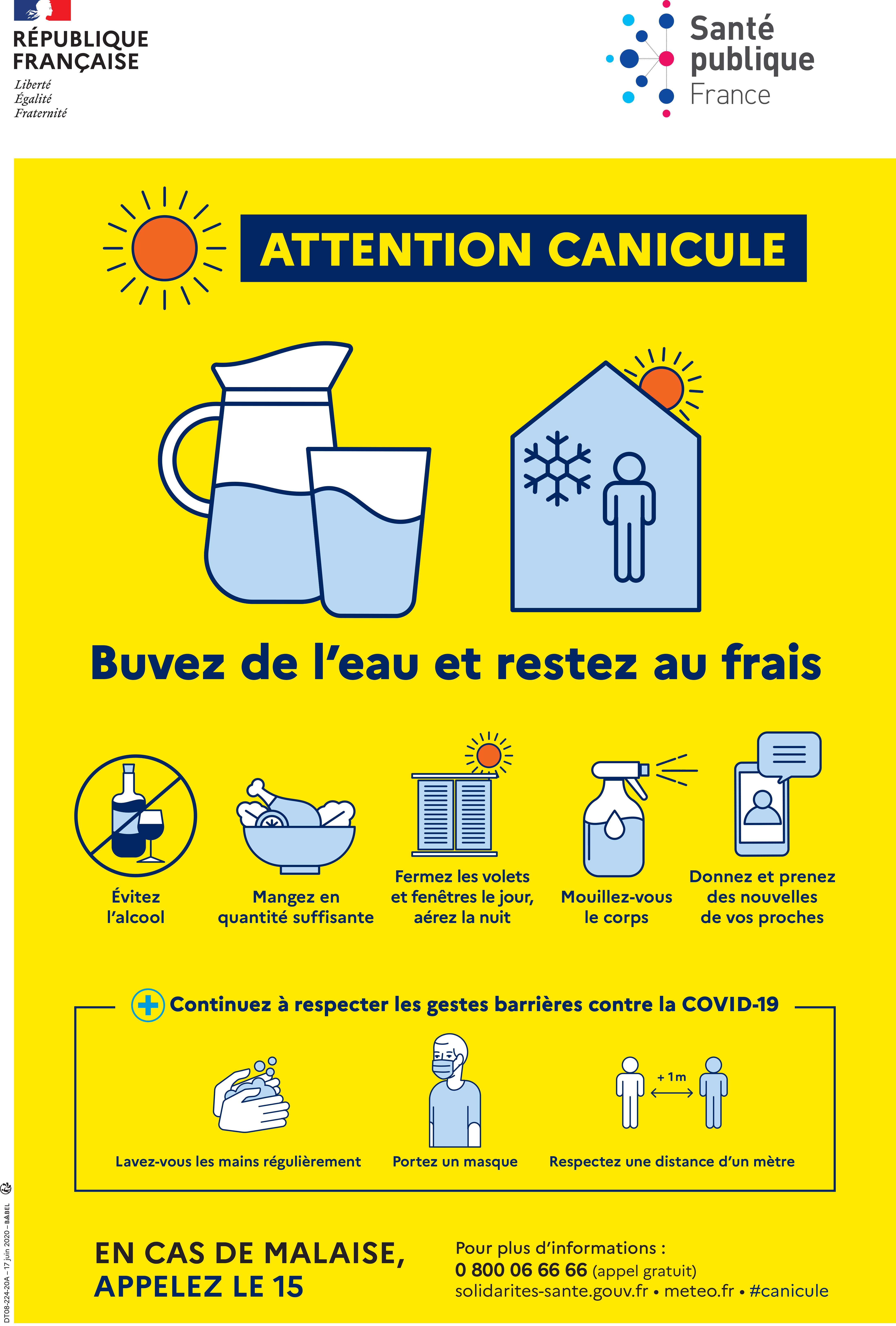 Cette affiche indique les gestes à adopter en cas de canicule.