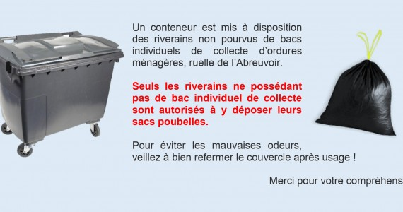 Bac de collecte d'ordures ménagères / Ruelle de l'Abreuvoir