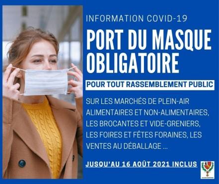 Port du masque obligatoire en Eure-et-Loir au 22/07/2021