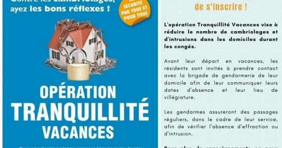 Opération Tranquillité Vacances !